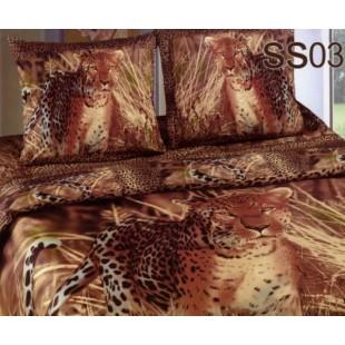 Постельное белье. Сатин «Лаванда» Леопард SS03